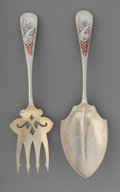 Silver Flatware, American:Whiting, A Whiting Mfg. Co. Partial Gilt Silver and Mixed Metals SaladServing Set, New York, New York, circa 1880. Marks: (W-griffin...(Total: 2 Items)