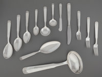 A One Hundred and One-Piece Hans Hansen Ripple Pattern Silver Flatware Service for Twelve wi