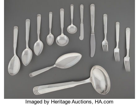 A One Hundred and One-Piece Hans Hansen Ripple Pattern Silver Flatware Service for Twelve with Serving Pieces, D... (Total: 101 Items)