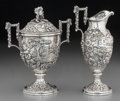 Silver Holloware, American:Creamers and Sugars, An S. Kirk & Son Co. Silver Landscape Creamer and CoveredSugar, Baltimore, Maryland, circa 1900. Marks: S. KIRK & SONCO.... (Total: 2 Items)