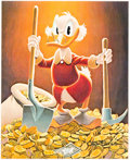 """Memorabilia:Disney, Carl Barks Pick and Shovel Laborer Signed Gold Limited """"Top Pick Edition"""" Miniature Lithograph Print #TP27/100 (An..."""