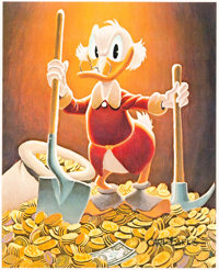"""Carl Barks Pick and Shovel Laborer Signed Gold Limited """"Top Pick Edition"""" Miniature Lithograph Print #TP27/100..."""