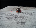Autographs:Celebrities, Gene Cernan Signed Large Apollo 17 Lunar Surface Color Photo withExtensive Handwritten Quote. ...