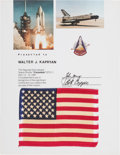 Explorers:Space Exploration, Space Shuttle Columbia (STS-1) Flown American Flag onPresentation Certificate Originally from the Collection of W...