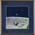 Autographs:Celebrities, Apollo 11 Crew-Signed (1969) Lunar Rendezvous Color Photo in FramedDisplay....