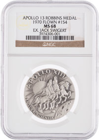 Apollo 13 Flown MS68 NGC Silver Robbins Medallion, Serial Number 154, Originally from the Personal Collection of Mission...