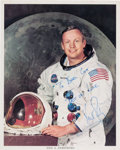 Autographs:Celebrities, Neil Armstrong Signed White Spacesuit Color Photo. ...
