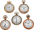Timepieces:Pocket (post 1900), Five 18 Size Pocket Watches Runners. ... (Total: 5 Items)
