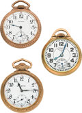 Timepieces:Pocket (post 1900), Waltham, Elgin & Illinois Open Face Pocket Watches Runners. ... (Total: 3 Items)