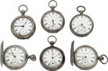 Timepieces:Pocket (post 1900), A Lot Of Six Key Wind Pocket Watches Pocket Watches. ... (Total: 6 Items)