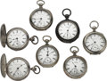 Timepieces:Pocket (post 1900), Seven Key Wind 18 Size Pocket Watches. ... (Total: 7 Items)
