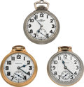 Timepieces:Pocket (post 1900), Two Hamilton's & A Ball Open Face Pocket Watches Runners. ...(Total: 3 Items)