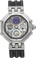 Timepieces:Wristwatch, Gerald Genta Ref. G.3359-4 Very Fine Platinum Skeletonized Perpetual Calendar With Moon Phases. ...
