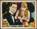 "Movie Posters:Comedy, Three Week Ends (Paramount, 1928). Lobby Card (11"" X 14""). Comedy.. ..."