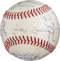 Baseball Collectibles:Balls, 1968 New York Yankees Team Signed Baseball, PSA/DNA NM+ 7.5. . ...