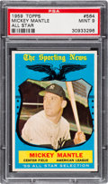Baseball Cards:Singles (1950-1959), 1959 Topps Mickey Mantle All Star #564 PSA Mint 9 - Only OneHigher. ...