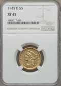 Liberty Half Eagles, 1845-D $5 XF45 NGC. Variety 13-H....