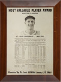 Baseball Collectibles:Others, 1942 Mort Cooper Most Valuable Player Award Plaque, Presented in1969....