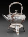 Silver Holloware, American:Hot Water Kettles , An American Silver and Mixed Metal Hot Water Kettle on Stand,attributed to Dominick & Haff, circa 1880-1885. Marks:STERL... (Total: 2 Items)