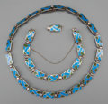 Silver Smalls:Other , A Two-Piece Margot de Taxco Enameled Silver Jewelry Suite, Taxco,Mexico, circa 1955-1978. Marks: MARGOT DE TAXCO, STERLIN...(Total: 2 Items)