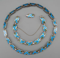 A Two-Piece Margot de Taxco Enameled Silver Jewelry Suite, Taxco, Mexico, circa 1955-1978 Marks: MARGOT DE TAXC