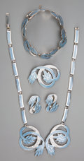Silver Smalls, A Five-Piece Margot de Taxco Enameled Silver Jewelry Suite, Taxco,Mexico, circa 1955-1978. Marks: MARGOT DE TAXCO, STERLI...(Total: 5 Items)