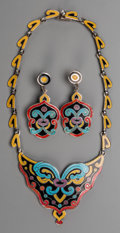 Silver Smalls, A Three-Piece Margot de Taxco Enameled Silver Jewelry Suite, Taxco,Mexico, circa 1948-1978. Marks: MARGOT TAXCO (rubbed...(Total: 3 Items)