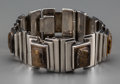 Silver & Vertu:Smalls & Jewelry, An Antonio Pineda Silver and Tiger's Eye Bracelet, Taxco, Mexico, circa 1953. Marks: ANTONIO, TAXCO (within crown), SI...