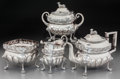 Silver Holloware, American:Coin Silver, A Four-Piece William Thomson Coin Silver Tea Service, New York, NewYork, circa 1820-1830. Marks: W Thomson. 8-1/4 h x 1...(Total: 4 Items)