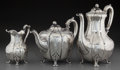 Silver Holloware, British:Holloware, A Three-Piece Robert Hennell III Victorian Silver Tea and CoffeeSet, London, England, circa 1847. Marks: (lion passant), (l...(Total: 4 Items)