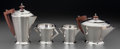 Silver Holloware, British:Holloware, An English Art Deco Silver and Rosewood Tea and Coffee Service,circa 1934. Marks: (lion passant), (anchor), K, TS.... (Total: 4 Items)
