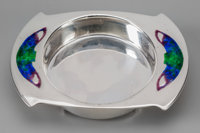 A Cymric Enameled Silver Butter Dish for Liberty & Co with Bat Motif, designed by Ar