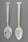 Silver & Vertu:Flatware, A Pair of Hector Aguilar Aztec Pattern Mexican Silver Salad Servers, Taxco, Mexico, circa 1940-1945. Marks: (HA)... (Total: 4 Items)