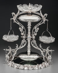 A Rare Victorian Silver-Plated and Cut-Glass Storer's Patent Perpetual Parlor Fountain, circa 1870-1880 Marks: