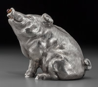 A Fabergé Silver and Gem-Set Razorback Pig Bell Push, with marks for workmaster Julius Rappoport, St. Petersburg...