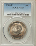 Kennedy Half Dollars, 1983-P 50C MS67 PCGS. PCGS Population: (20/1). NGC Census: (3/0).Mintage 34,139,000. ...