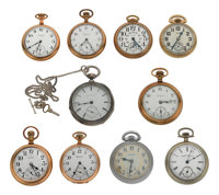 A Lot Of Ten Railroad Pocket Watches