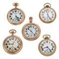 Timepieces:Pocket (post 1900), A Lot Of Five Railroad Pocket Watches Runners. ... (Total: 5 Items)