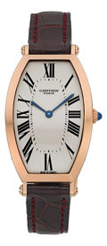 Timepieces:Wristwatch, Cartier Very Fine Pink Gold Tonneau Mécanique Lady's Wristwatch. ...