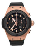 Timepieces:Wristwatch, Hublot Very Fine Rose Gold King Power Split Second Chronograph With Power Indication, Ref. 709.OM.1780.RX, No. 336/500. ...