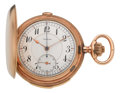 Timepieces:Pocket (post 1900), Monnier, Swiss, Gold Minute Repeater With Chronograph, circa 1910....