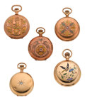 Timepieces:Pocket (post 1900), Five Gold O Size, Three Multicolor, One Enamel, One Diamond. ...(Total: 5 Items)