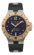 Timepieces:Wristwatch, Bulgari SD 40 SG Diagono Scuba 300m Steel & Gold Wristwatch. ...