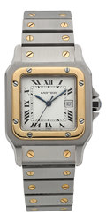 Timepieces:Wristwatch, Cartier Two Tone Santos Automatic. ...