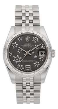 Rolex Ref. 178240 Lady's Oyster Perpetual Datejust Floral Dial Steel & Diamond Wristwatch