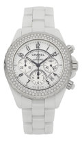 Timepieces:Wristwatch, Chanel J12 Chronograph 41 mm Automatic With Diamond Bezel H1008....