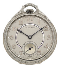 Hamilton Masterpiece 23 Jewel 18k White Gold Pocket Watch, circa 1937