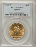Modern Issues, 1984-W $10 Olympic Torch Runner Gold Ten Dollar MS69 PCGS. PCGS Population: (2739/150). NGC Census: (1157/465). CDN: $539 W...
