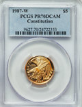 Modern Issues, 1987-W $5 Constitution Gold Five Dollar PR70 Deep Cameo PCGS. PCGS Population: (1891). NGC Census: (8300). Mintage 651,659...
