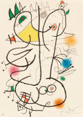 Prints:European Modern, Joan Miró (1893-1983). Le miroir de l'homme par les bêtes,1972. Aquatint in colors on wove paper. 17-1/8 x 12-1/2 inche...